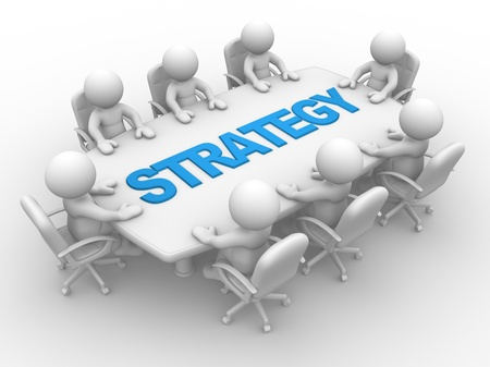 3d Menschen - Männer, Person Konferenztisch. Business-Strategie