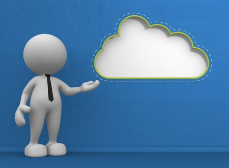 3d people - man, person with a blank cloud. Message photo