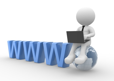 3d people - man, person with a laptop and earth globe Stock Photo