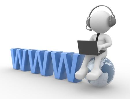 3d gente - hombre, persona con auriculares y un ordenador portátil.