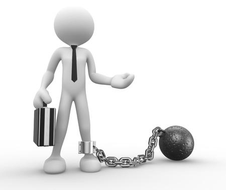3d gente - hombre, persona con una bola cadena. Prisionero. Hombre de negocios