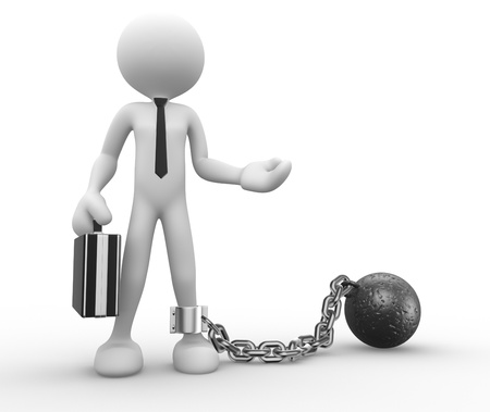 gefangener: 3d Menschen - ein Mann, Person mit einer Kette Kugel. Prisoner. Geschäftsmann