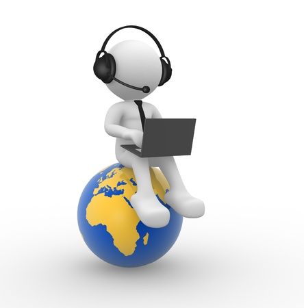 3d people - man, person with a laptop and a headphones. Earth globe  Фото со стока