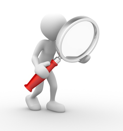 close icon: 3d people - man, person with a magnifying glass. Search Concept
