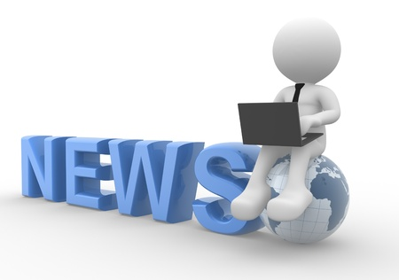 lead: 3d people - man, person with a laptop and earth globe. News concept Stock Photo