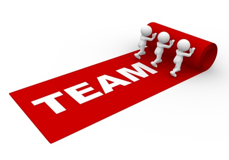 accolade: 3d people - man, person rolling out the red carpet and word team. Teamwork concept Stock Photo