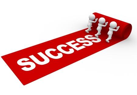 """3d Menschen - ein Mann, Person rollt den roten Teppich aus und das Wort """"Erfolg"""" Lizenzfreie Bilder"""