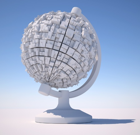 3d closeup scene of gray globe with futuristic city. 3d render  photo