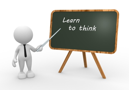 3d people - man, person with a blackboard and text  Learn to think photo