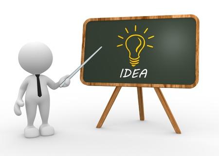 3 d 人々 - 人、黒板や単語のアイデアを持つ人