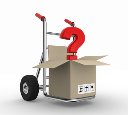 3d hand truck with open box and a question mark Stock Photo - 17532611