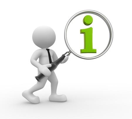 3d gente - hombre, persona con la lupa y el icono verde de la información