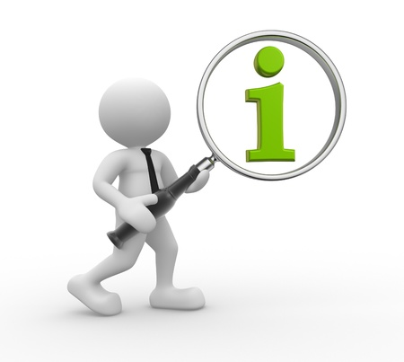 3d people - man, person  with magnifying glass and green information icon Banque d'images