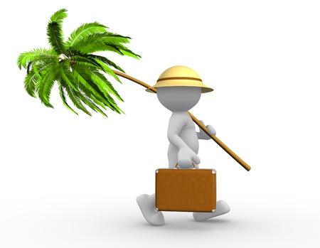 3d Menschen - ein Mann, Person mit einem Koffer und einer Palme. Going in Urlaub