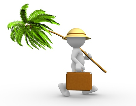 3d people - man, person with a suitcase and a palm. Going in vacation photo