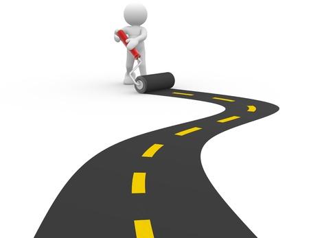 3d personnes - homme, personne avec un rouleau et la route pavée