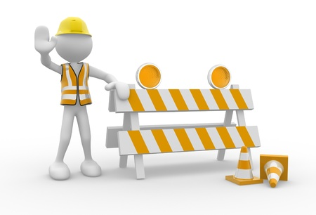under construction sign with man: 3d people - man, person and under construction sign. Stop Stock Photo