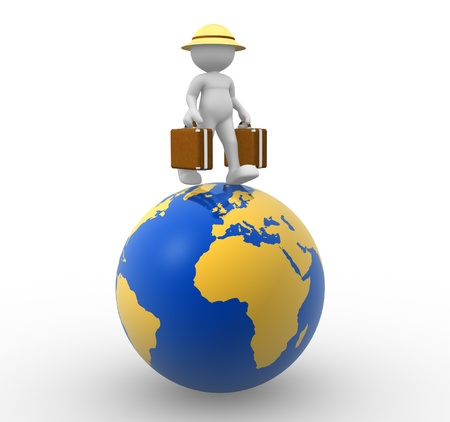 icon idea idiom illustration: 3d people - man, person with a suitcase. World Travel Stock Photo