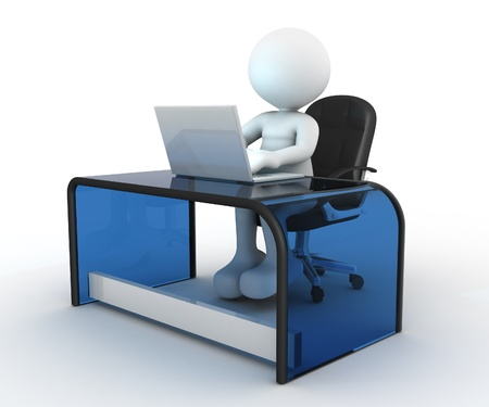3d gente - hombre, persona que se sienta a la mesa y trabajar en un ordenador portátil. Foto de archivo