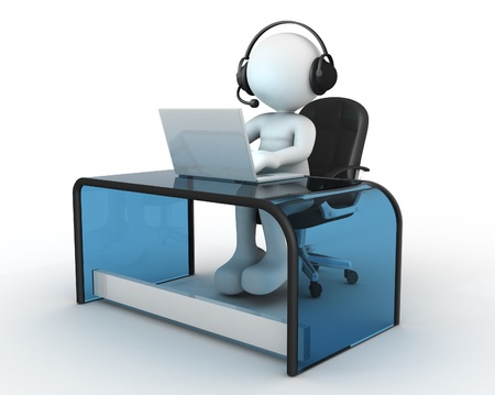 3d Menschen - ein Mann, Person mit Kopfhörer sitzt am Tisch und arbeitet an einem Laptop-Computer. Lizenzfreie Bilder