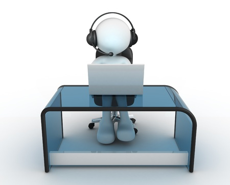 3d people - man, person with headphone sitting at the table and working on a laptop computer. 写真素材