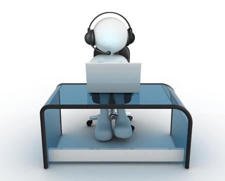 3d gente - hombre, persona con auriculares sentado en la mesa y trabajar en un ordenador portátil. Foto de archivo