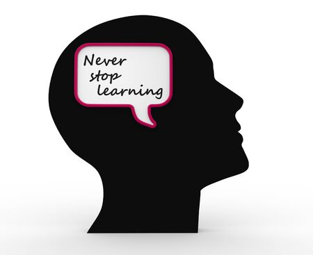 3d human head and text, Never stop learning Stock Photo - 17532561