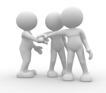la union hace la fuerza: 3d personas - hombres, personas juntas. Equipo de negocios unirse concepto manos