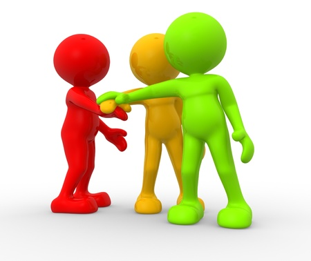 three persons: 3d people - men, person together. Business team joining hands concept