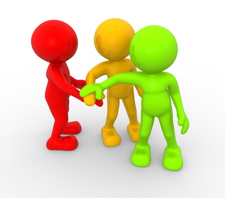3d people - men, person together. Business team joining hands concept