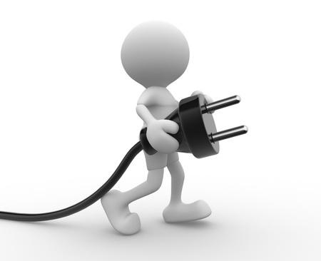 3d gente - hombre, persona que lleva en la mano un enchufe eléctrico. Foto de archivo