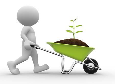 3d people - man, person with a wheelbarrow and a seedling Stock Photo