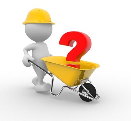 3d Menschen - ein Mann, Person mit einer Schubkarre und ein Fragezeichen
