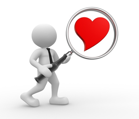 magnification: 3d people - man, person with magnifying glass and a heart. Concept of love