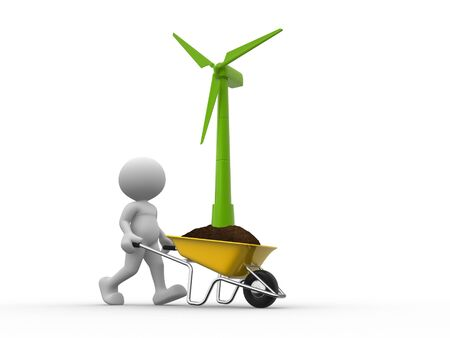 windturbine: 3d people - man, person with a wheelbarrow and a wind-turbine Stock Photo