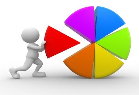 3d mensen - een man, persoon met kleurrijke cirkeldiagram