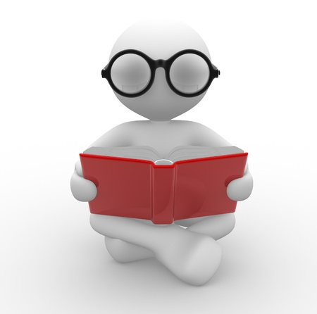 reading glass: 3d people - man, person with a open book. Education concept . Nerd. Stock Photo