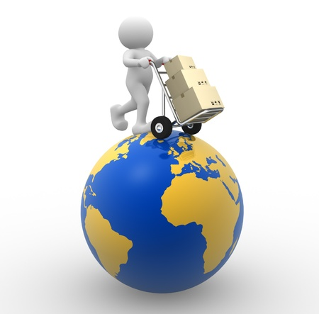 icon idea idiom illustration: 3d people - man, person with a hand truck and boxes. Global Delivery
