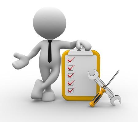Person 3d mit Checkliste und Werkzeuge. Schraubenzieher und Schraubenschlüssel