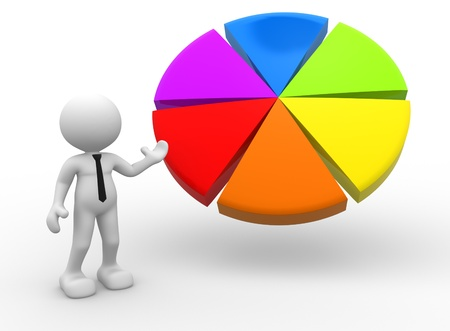 3d people - man, person pointing a pie chart. Banque d'images
