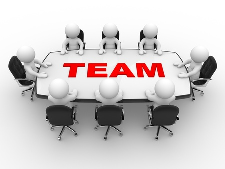 3d Menschen - Männer, Person Konferenztisch. Zusammenspiel