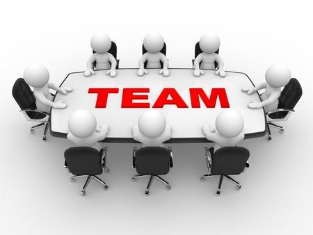 3d mensen - mannen, persoon aan vergadertafel. Samenspel