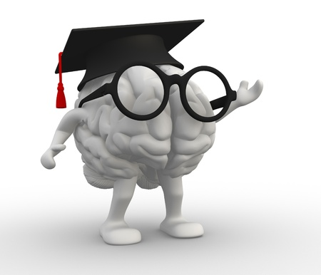 cerebellum: 3d human brain with arms and legs, Graduation cap