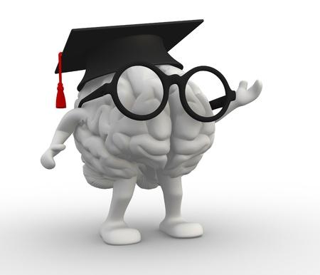 graduacion caricatura: Cerebro humano 3d con los brazos y las piernas, Casquillo de la graduación Foto de archivo