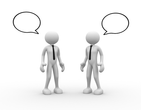 explain: 3d people - men, person standing and talking with speech bubbles. Stock Photo