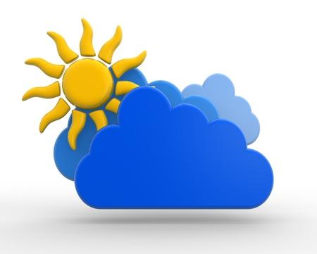 rising temperature: 3d Sun with cloud. 3d render Stock Photo