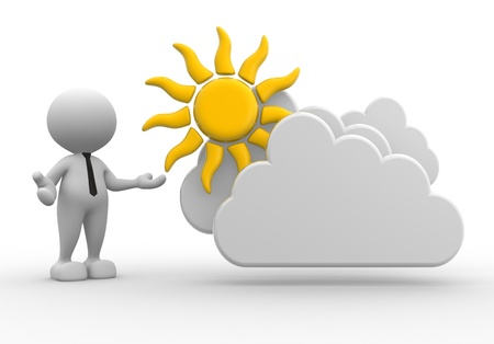 3d people - man, person standing near to a cloud and a sun. Drawing. Businessman Stock Photo