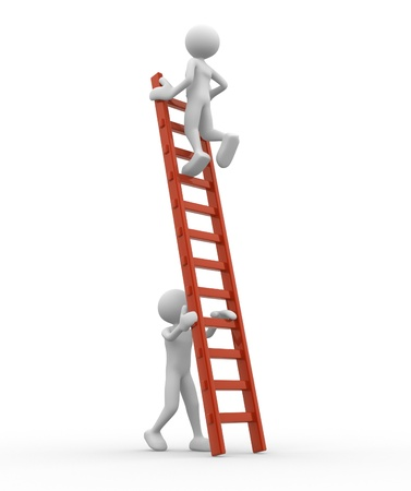 climbing ladder: 3d people - man, person is helping another to climb a ladder