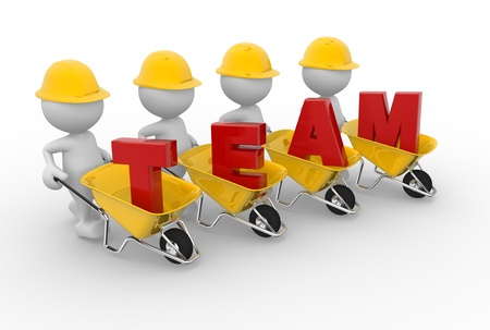 """3d personas - hombres, persona con una carretilla y la palabra """"equipo"""". Trabajo en equipo"""
