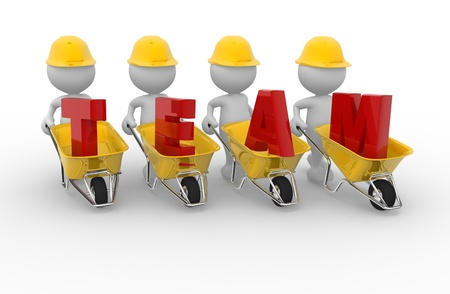 """3d mensen - mannen, iemand met een kruiwagen en woord """"team"""". Samenspel"""